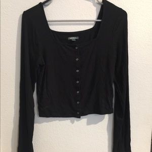 Black, low cut button up, long sleeve
